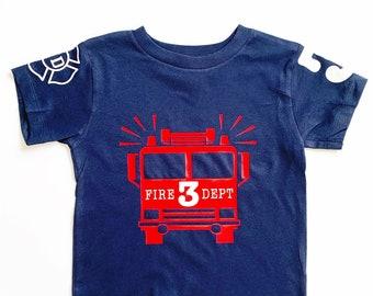 Firetruck Birthday Shirt, Fireman Birthday Tshirt, 3rd Birthday Fireman, 4th Birthday Fire Truck,  Firefighter Birthday Shirt, Fire Truck