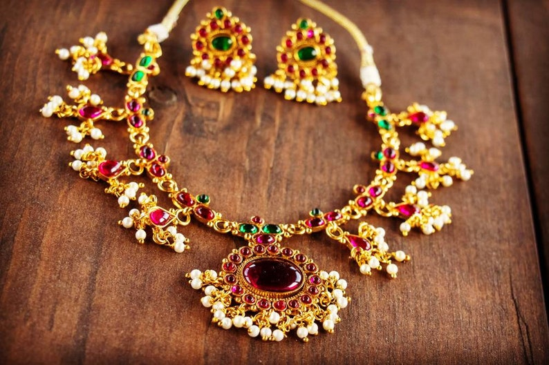 Maharashtrian Style Earrings and Necklace Set featuring Faux Pearls and Colored Stones Bollywood Jewelry Indian Jewelry Set