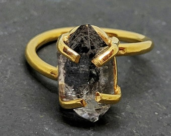 ESHQROCK RAW Herkimer Diamond Twist Claw Ring Size 6 & 8 22k Gold Plated Brass