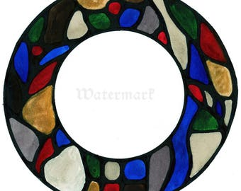 Stained Glass style round bookplate- Digital