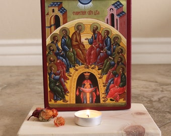 BeautifulGreekStatues Saint Mary Icon Orthodox Cross Pendant Protection of The Family 0.98 inches