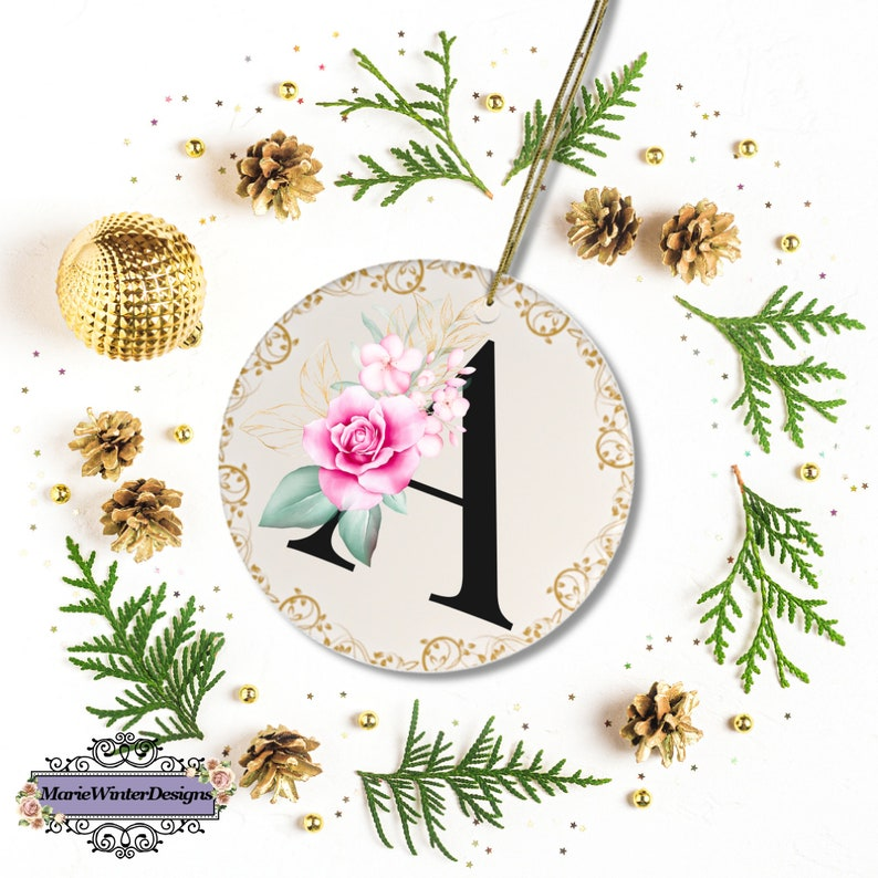 Monogram Ornament Letter A Bridal Party Gifts Ornament Letters Ceramic Ornaments Ornament With Initials Monogram Christmas Ornaments