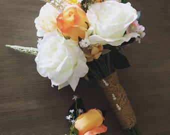 Silk Bridal Bouquet & Boutonnière