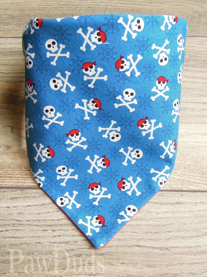Jolly Roger Dog Bandana Personalized with Embroidered Name Over the Collar or Tie and Snap Pet Accessories Made in USA