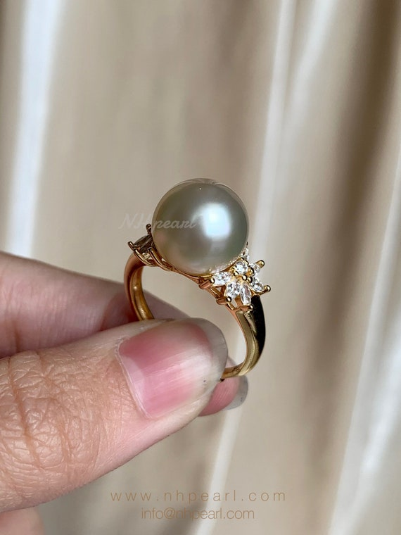Natural pearl SIMPLE golden south sea pearl and opal ring Seawater pearl S925 sterling silver ring