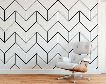Oversized Herringbone,  black and white wallpaper, modern wallpaper, peel and stick, herringbone wallpaper, scandinavian, home decor