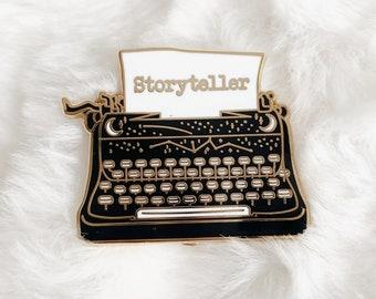 Storyteller Typewriter, Enamel Pin, Celestial, Witchy, Dark Academia, Light Academia, Lapel Pin, Gift, Bookworm, BookLover