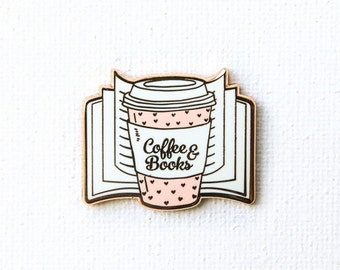 Coffee & Books Pin, Enamel Pin, Book Pin, Book Enamel Pin, Lapel Bin, Book Lover Gift, Books, pastel