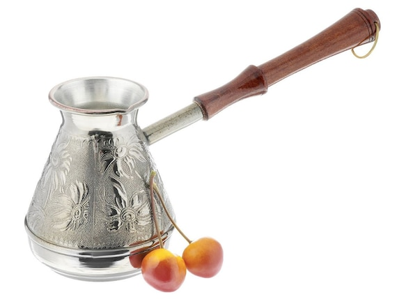 Coffee Pot Chamomile Capacity 400 ml Handmade by Artist Copper Turka ibrik jazzve with wooden handle Made in Russia