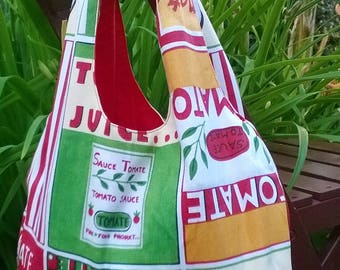 Tomato/red print reversible tote bag
