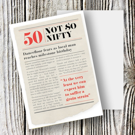 Funny Birthday Card For 50 Year Old Man Turning 50th