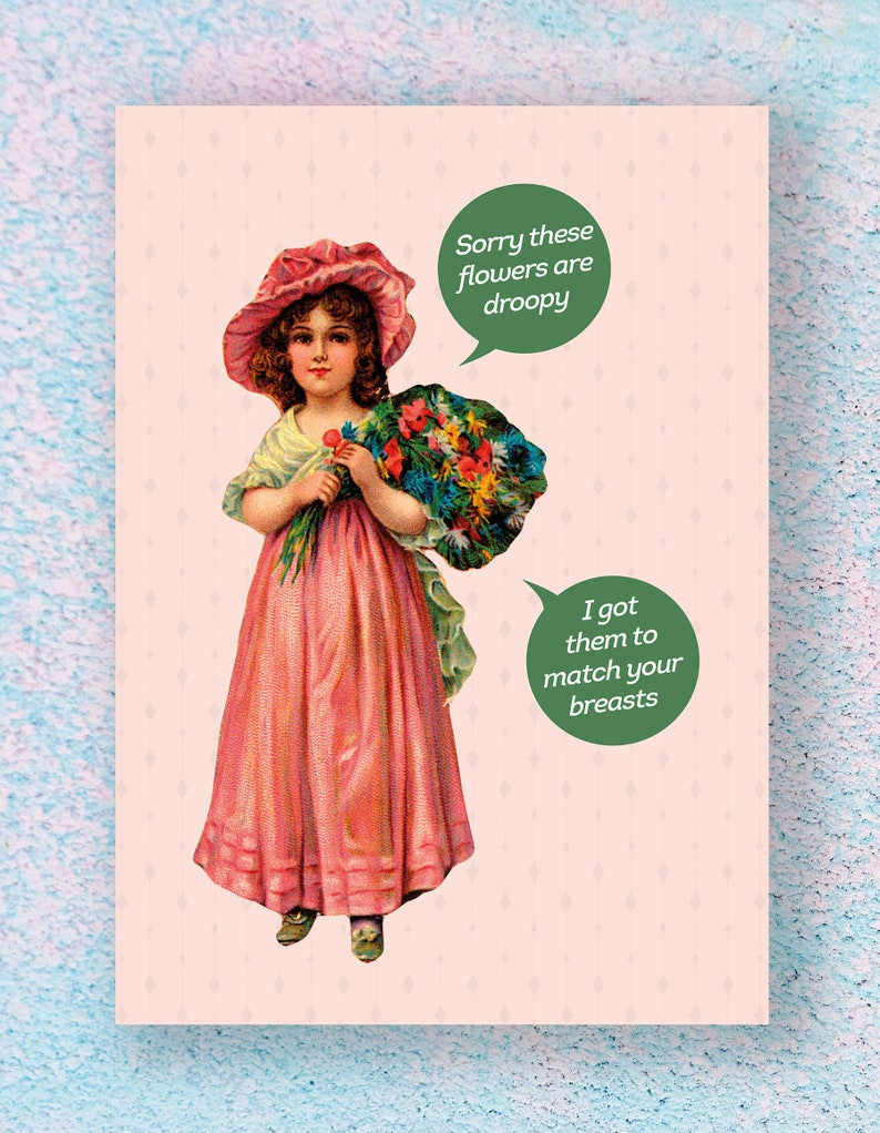 Funny Birthday Card For Her Droopy Boobs Boob Vintage
