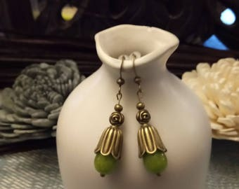 Vintage olive green and bronze earrings