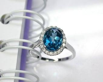 4.05 Natural london blue topaz ring sterling silver wedding ring.