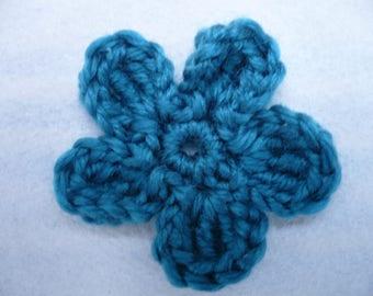 Title: teal crochet flower