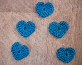 crochet hearts, set of 5 blue cotton