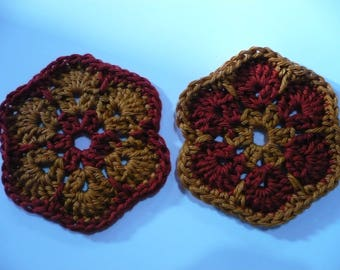 set of 2 crochet flowers, and copper colored t rust