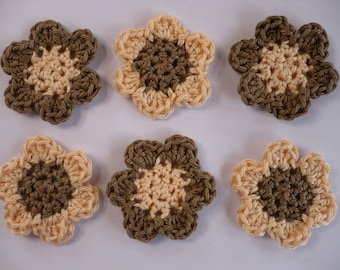 set of 6 flowers crochet applique flower, raw and nude colors.