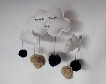 Navy Blue and beige tassel cloud mobile