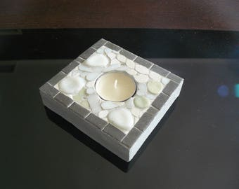 Candle holder with candle warmer flat mosaic glass - white and gray