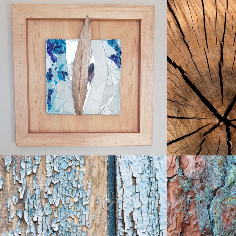 Glass mosaic and wood mural Wood Plume image 0