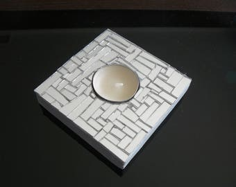 Candle holder for candle warmer flat mirror mosaic