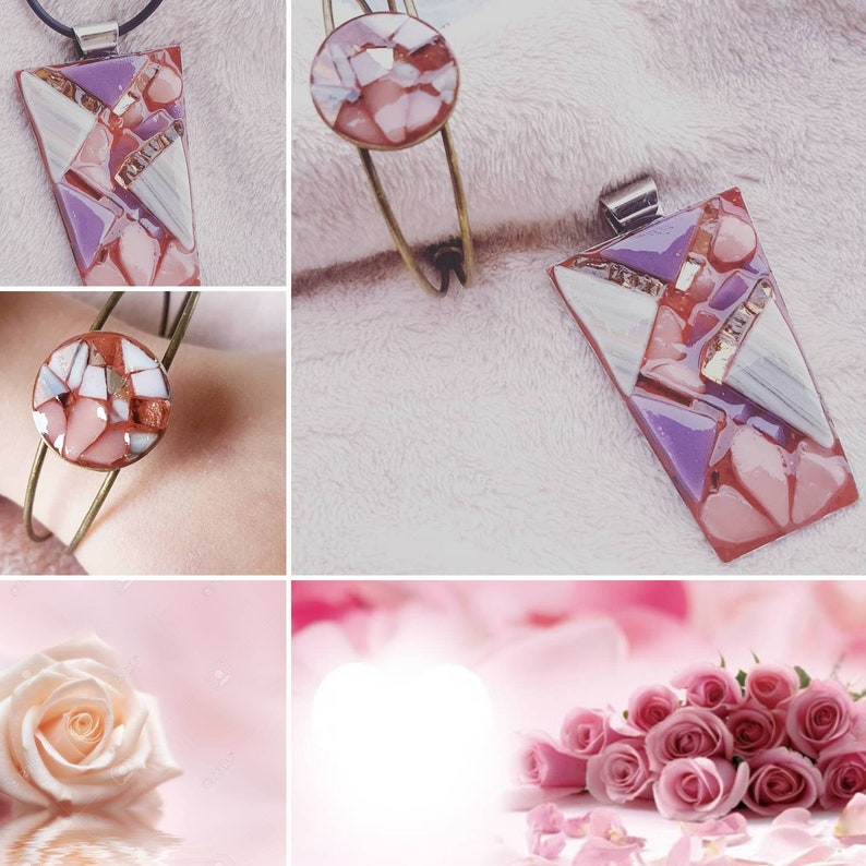 Jewel necklace pendant in glass and gold mosaic Sweet Rose image 0