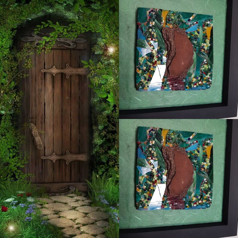 Glass and bark mosaic mural  Gate in the Emerald Forest image 0