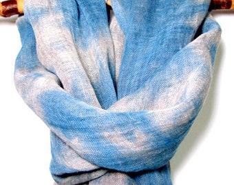 Linen Canvas Eco Dyed Scarf, Unisex Organic Shobiro dyed Textile