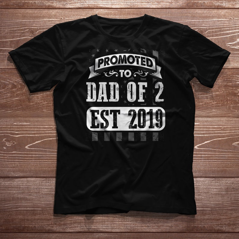 30250307 Dad of 2 Twins Shirt Promoted Est 2019 New Baby Pregnancy | Etsy