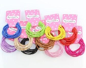 Simple hair elastics, multicolor
