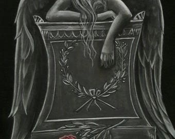 Angel of sorrow painting black and white
