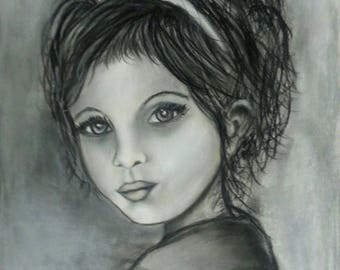 potrait painting girl black and white