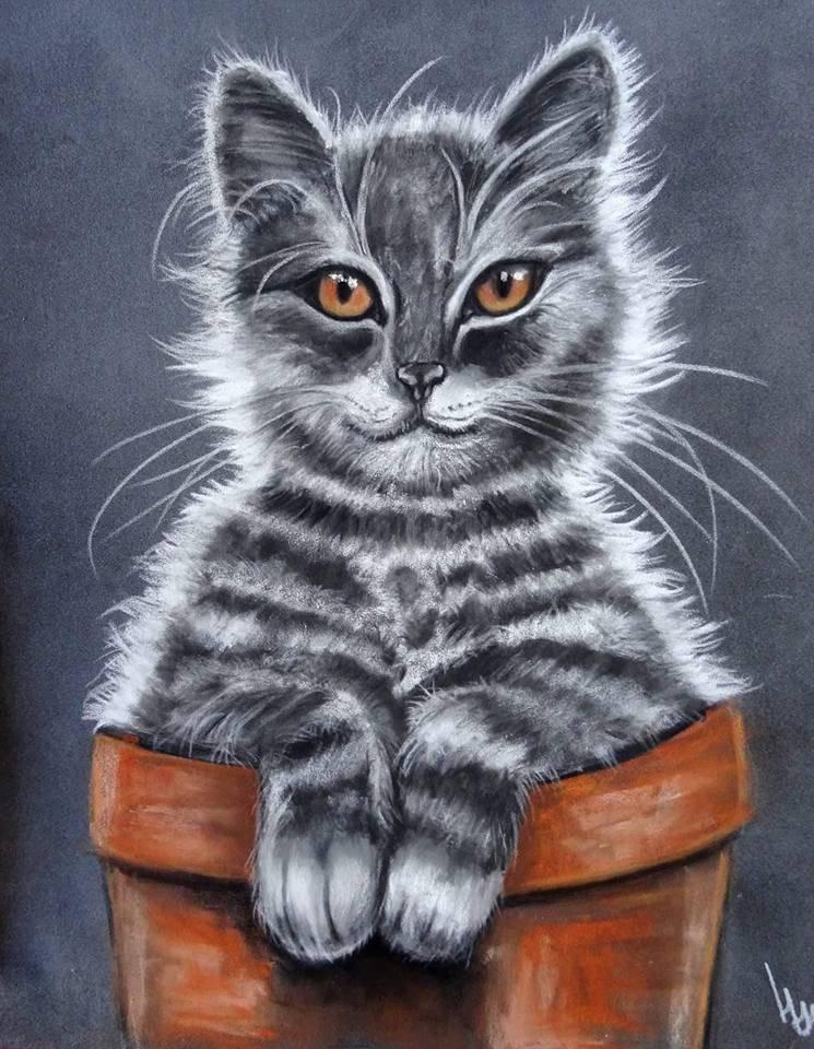 Photo tableau repr sentant un chat tout mignon dans un pot etsy - Chat tout mignon ...