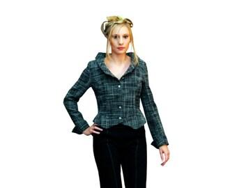 Jacket * Amiens *, jacket woman, cotton jacket, jacket in polyester, black jacket, lined jacket, romantic, handmade, Giselle ANTON