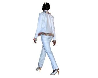Jacket * Binta *, jacket woman, cotton jacket, jacket in polyester, white jacket, lined jacket, romantic, handmade, Giselle ANTON
