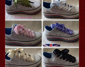 """1"""" satin ribbon shoe laces for trainer boots or shoes bespoke lengths available"""