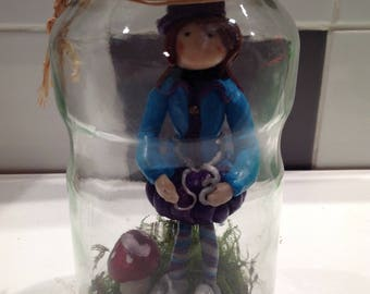fairy in Fimo in a glass jar