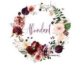 Watercolor Floral Wreath Clipart - Autumn Wreath - Fall Wreath - Watercolor Burgundy Blush - Fig Wreath - Wedding Design - Invitation
