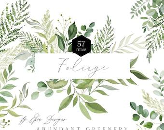 Greenery Watercolor Clipart, Greenery Bundle Clipart,Botanical Clipart,Watercolor Clipart,Wedding Clipart,Invitation Clipart,Foliage Clipart