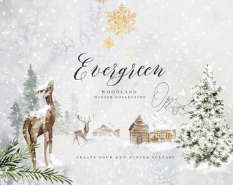 Evergreen - Winter Woodland Collection - Woodland Clipart - Winter Landscapes - Watercolor Winter - Watercolor Christmas - Watercolor Woods