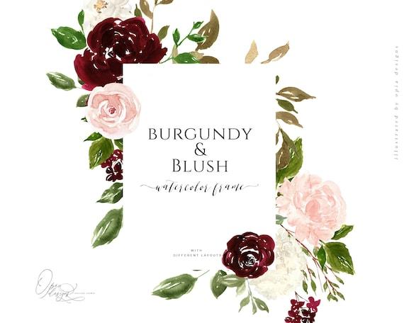 Floral Burgundy Blush Clipart Burgundy Blush Watercolor Etsy