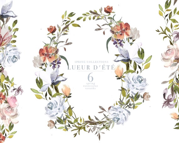 Spring Watercolor Wreaths Spring Clipart Tender Spring Etsy
