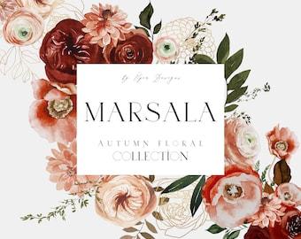 Watercolor Floral Clipart - Marsala Burgundy Blush Florals - Autumnal Flowers - Fall Clipart - Autumn Clipart - Burgundy Blush Clipart
