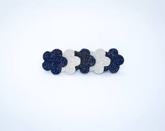 Navy and white glittery leather Barrette