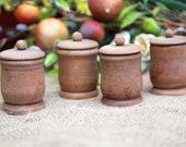 Set of 4 Vintage Wooden Spice Holders, Kitchen tools, utensil, Farmhouse decor, country chic, Kitchenalia