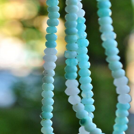 Opales Péruvienne haute qualité bleues ciel ocean - Fil de 7 cm petites perles rondelles facettées prélevées sur le fil en photo