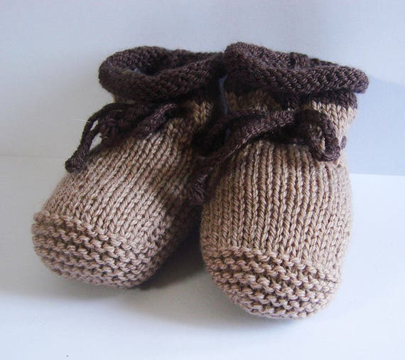 56e3cd8bdc0c6 Baby booties - two-tone - Tan Brown - size 0-3 months