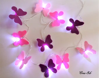 """""""Butterfly"""" 10 led and plum pink felt Garland"""