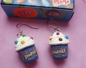 Earrings BU smarties ice pot / chocolate gluttony candy sweet polymer jewelry